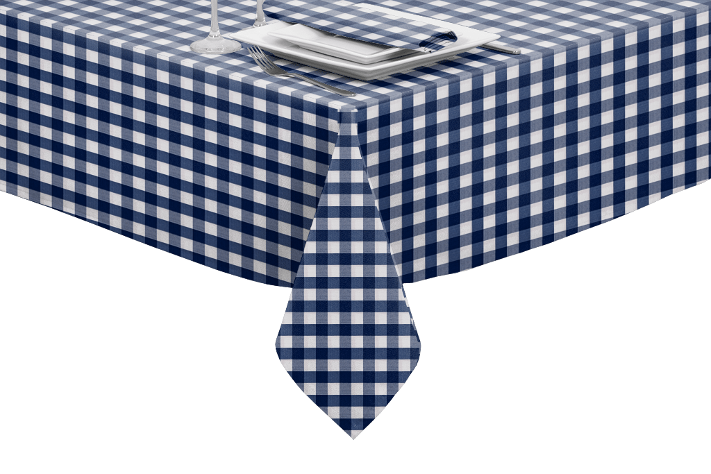 Plain Blue Linen Matte Finish Oilcloth Wipeclean Tablecloth Samples Available